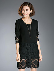 cheap -Women's Lace Plus Size Street chic Sheath Dress,Patchwork Round Neck Above Knee Long Sleeve Black Cotton Spring / Fall