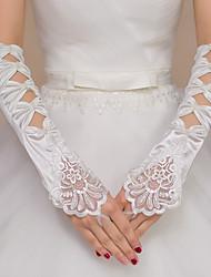 Polyester Elastischer Satin Opernlänge Handschuh Brauthandschuhe Party / Abendhandschuhe With Strass Pearlen