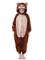 Kigurumi Pajamas Costume Brown Polar Fleece Kigurumi Leotard / Onesie Cosplay Festival / Holiday Animal Sleepwear Halloween Solid For Kid