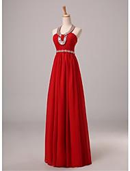 economico -un vestito da sera chiffon di lunghezza del pavimento del halter di una linea con il bordo di bordo del bordo del bordo da nameilisha