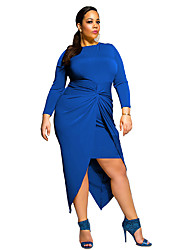 cheap -Women's Asymmetrical Plus Size / Formal / Party Sexy / Street chic Sheath Dress,Solid Crew Neck Asymmetrical Long Sleeve