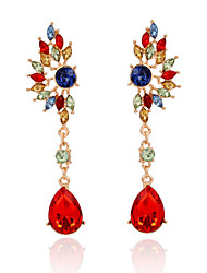 cheap -New Arrival Gold Plated Colorful Crystal Long Earrings Fashion Charm Gem Water Drop Earrings Women Jewelry