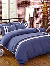 preiswerte -Bettbezug-Sets Solide Linien / Wellen 4 Stück 100% Baumwolle Reaktivdruck 100% Baumwolle 1 Stk. Bettdeckenbezug 2 Stk. Kissenbezüge 1