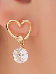 cheap -Women's Hypoallergenic Heart Cubic Zirconia Drop Earrings - Simple Hypoallergenic Fashion Sweet Heart For Daily Casual