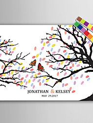 E-HOME® Personalized Fingerprint Painting Canvas Prints -Butterfly On A Branch (Includes 12 Ink FColors)
