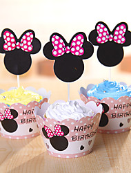Birthday Party Tableware-12Piece/Set Cupcake Wrappers Tag Hard Card Paper Classic Theme Cylinder Non-personalised
