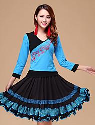 Latin Dance Outfits Women's Performance Cotton / Milk Fiber Sequins 2 Pcs Fuchsia / Light Blue / Royal Blue / Light Red