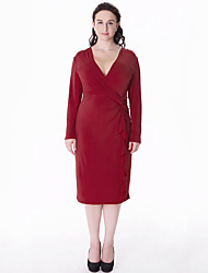 Women's Plus Size Vintage Sheath Dress,Solid / Patchwork V Neck Knee-length Long Sleeve Red / Black Polyester Fall