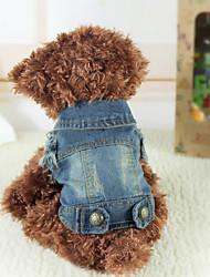 preiswerte -Hund Jeansjacken Hundekleidung Cowboy Modisch Jeans Blau Kostüm Für Haustiere
