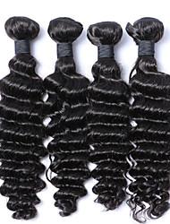 cheap -Malaysian Hair Curly Human Hair Weaves 4 Pieces 0.4
