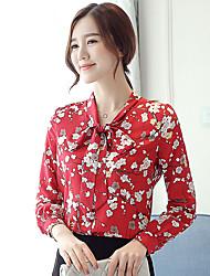 Mulheres Blusa Formal / Trabalho Fofo / Chinoiserie Primavera / Outono,Floral Vermelho Poliéster Decote Redondo Manga Longa Fina