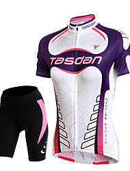 cheap -TASDAN Cycling Jersey with Shorts Women's Short Sleeves Bike Shorts Jersey Padded Shorts/Chamois Sleeves Top Clothing Suits Quick Dry