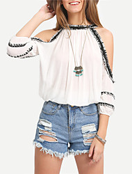cheap -Women's Going out Cute Blouse - Solid Colored Artistic Style Off Shoulder