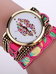 cheap -Women's Bohemian Style Fabric Band White lip Mouse Case Analog Quartz Layered Bracelet Fashion Watch