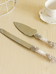 Wedding Accessories Flower Handle Cake Knife And Server Serving Set with Crystal Heart Rhinestone,White