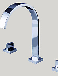 Bathroom Sink Faucet Widespread Contemporary Design Chrome finish Faucet