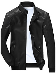 Men's Casual / Casual/Daily Simple / Tops / Chinoiserie Leather Jackets,Solid Scalloped Long Sleeve Fall / WinterBlue / Red / Black /