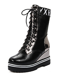cheap -Women's Shoes Winter Combat Boots / Round Toe Boots Dress / Casual Wedge Heel Lace-up Black / Red / Beige / Champagne