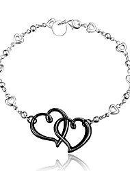 Bracciali Bracciali a catena e maglie Argento sterling A forma di cuore Amore Cuore Di tendenza Vintage Matrimonio Feste Quotidiano Casual