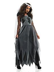 Costumi Cosplay Vestito da Serata Elegante Fantasma Costumi da zombie Feste/vacanze Costumi Halloween Nero+Grigio Vintage Abito Accessori