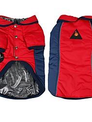 preiswerte -Hund Mäntel Hundekleidung Reversibel warm halten Einfarbig Gelb Rot Kostüm Für Haustiere