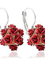 baratos -Mulheres Brincos Compridos / Brincos em Argola - Flor Fashion Verde / Azul / Rosa claro Para Casamento / Festa / Diário / Casual