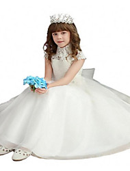 cheap -Ball Gown Floor Length Flower Girl Dress - Lace / Tulle Short Sleeve High Neck with Bow(s) / Lace / Sash / Ribbon by LAN TING Express