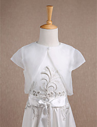 Short Sleeves Organza Wedding Party Evening Casual Kids' Wraps With Button Shrugs