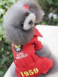 abordables -Perro Abrigos Ropa para Perro Un Color Letra y Número Negro Rojo Algodón Disfraz Para mascotas Hombre Mujer Casual/Diario