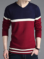 cheap -Men's Color Block Casual / Work Pullover,Cotton / Acrylic / Polyester Long Sleeve Red / Gray 916332