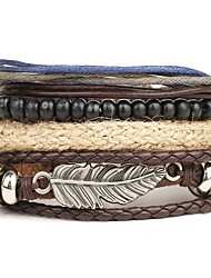 cheap -Men's Leather Leather Bracelet Wrap Bracelet - Personalized Multi Layer Punk Round Wings / Feather Brown Bracelet For Christmas Gifts