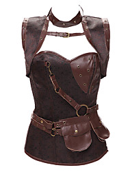 cheap -Women's Sex Overbust Brown Corset,Organic Cotton / PU Zip,Cool