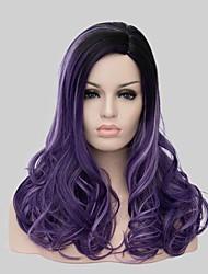 preiswerte -Damen Synthetische Perücken Mittel Wellen New Purple Schwarze Perücke Halloween Perücke Karnevalsperücke Kostümperücke