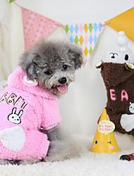 economico -Cane Felpe con cappuccio Tuta Abbigliamento per cani Tenere al caldo Cartoni animati Caffè Rosa Costume Per animali domestici