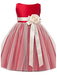 cheap -A-Line Tea Length Flower Girl Dress - Satin Tulle Sleeveless Jewel Neck with Sash / Ribbon Flower by LAN TING Express