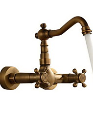 cheap -Bathroom Sink Faucet - Widespread Antique Copper Wall Mounted Two Holes Two Handles Three Holes