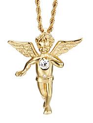 Homens Colares com Pendentes Aço Inoxidável Chapeado Dourado 18K ouro Casual Fashion Jóias Para Diário Casual