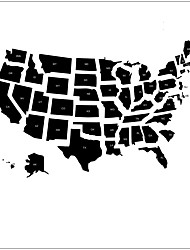 Abstract American Map Wall Stickers Cartoon Map Decorative Wall Decal ,vinyl Material Removable Home Decoration