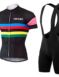 cheap -KEIYUEM Cycling Jersey with Bib Shorts Unisex Short Sleeves Bike Clothing Suits Quick Dry Dust Proof Wearable Breathable Stretch