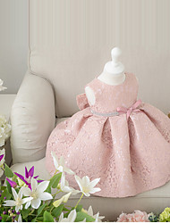 cheap -Ball Gown Short / Mini Flower Girl Dress - Lace Sleeveless Jewel Neck with Bow(s) by