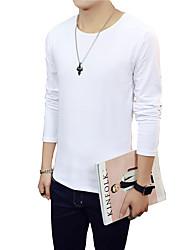 Masculino Camiseta Algodão Cor Solida Manga Comprida Casual-Preto / Azul / Marrom / Colorido / Roxo / Vermelho / Branco / Cinza