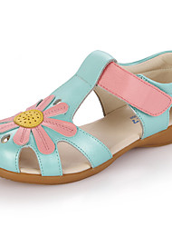 Girls' Shoes Leather Summer Sandals Applique For Casual White Blue Pink