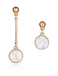 cheap -New Design Fashion Long Earrings 18K Gold Plated Natural Round Turquoise Asymmetrical Earrings Party Jewelry