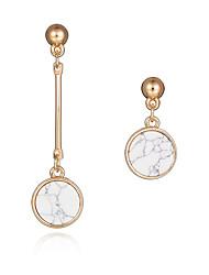 Novo design moda brincos longos 18k banhado a ouro natural redondo turquesa brincos assimétricos festa jóias