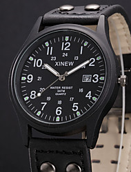 Men Military Watches Casual Quartz Watch XINEW Brand Luxury Leather Fashion Wristwatches Relojes Masculino Hombre