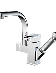 cheap -Kitchen faucet - Contemporary Modern Chrome Standard Spout Pull-out / ­Pull-down Vessel