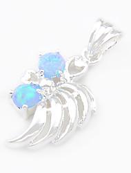 моды luckyshine синий белый огонь круглые серебряные подвески опал камень 925 для ожерелья для свадебного ежедневного 1шт