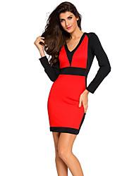 Damen Bodycon Kleid-Arbeit Sexy / Einfach Solide V-Ausschnitt Mini Langarm Rot / Beige / Schwarz Polyester / Elasthan Alle Saisons
