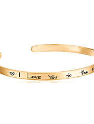 cheap -Men's / Women's Bangles / Cuff Bracelet - Love Simple Style, Open Bracelet Silver / Golden / Rose Gold For Wedding / Party / Gift