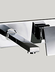 cheap -Contemporary Modern Wall Mounted Rotatable Brass Valve Two Holes Single Handle Two Holes Chrome, Bathroom Sink Faucet